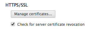 Chrome's certificate revocation settings