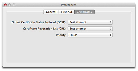 Keychain Access settings to watch for revoked certificates
