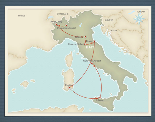 A travel itinerary map of Italy created in iPhoto