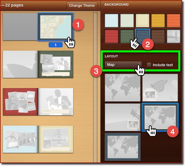 The Photo Book Layout panels in iPhoto