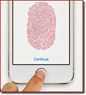 An iPhone 5s with a fingerprint in red on the screen