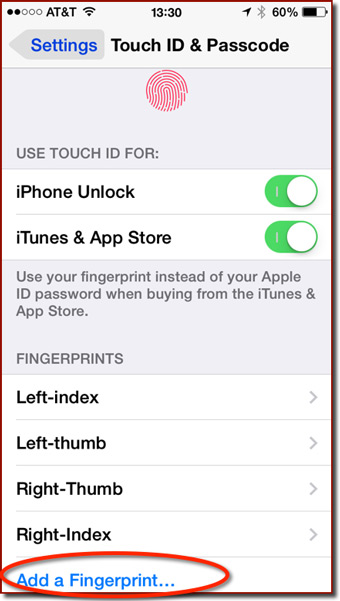 The Fingerprints section of the Touch ID preferences panel