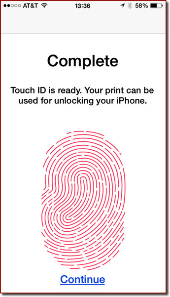 The fingerprint enrollment confirmation screen