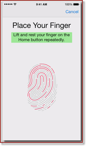 iPhone screen with instructions on placing finger on Home button