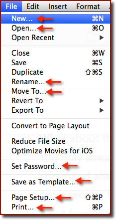 The File menu in Pages