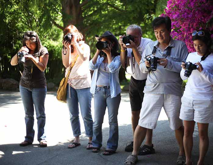 A group of photography students on a photo walk