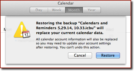 Restore warning dialog box in Calendar