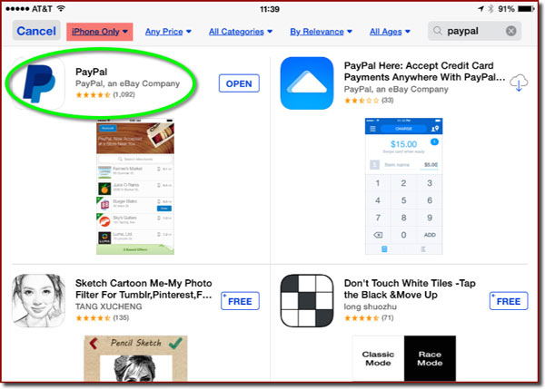 The App Store seen from an iPad