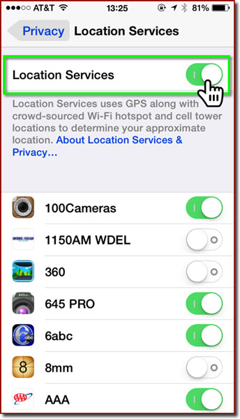 The Location Services settings panel