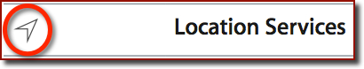 An information box showing the Location Services arrowhead icon that appears on the device�s status bar