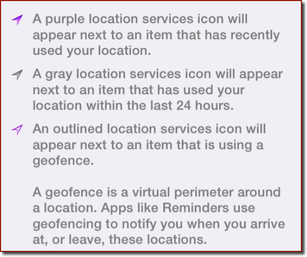 A detail from the Location Services settings panel that explains the three different Location Services icons that may be visible in the list of apps.