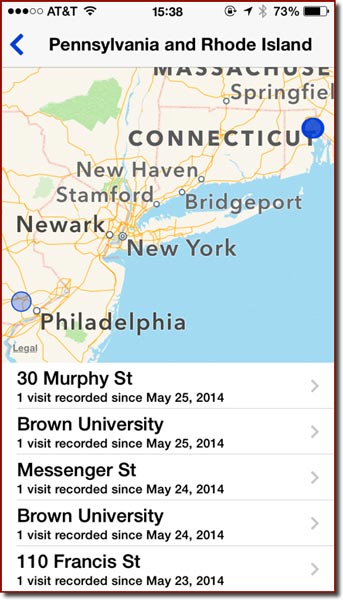 A screen from the Frequent Locations settings panel