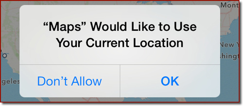 A location warning dialog generated by the Maps app