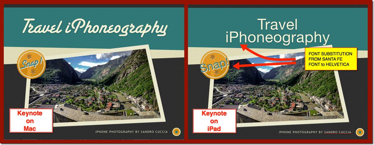 A Keynote slide as it appears on both the Mac and on the iPad