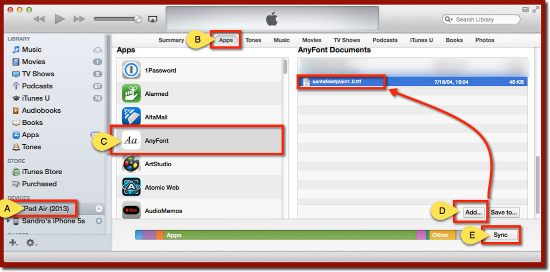 The iTunes window and the Apps file transfer panel