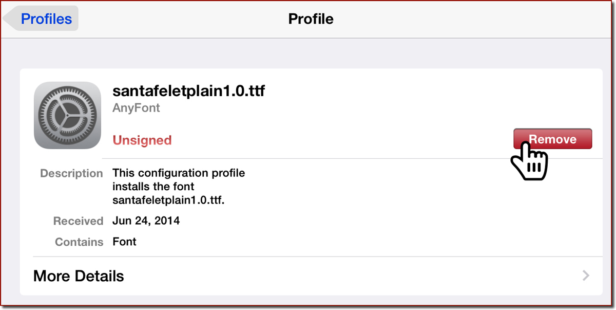 A font Profile panel in Settings