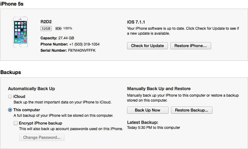 Backup Info in iTunes