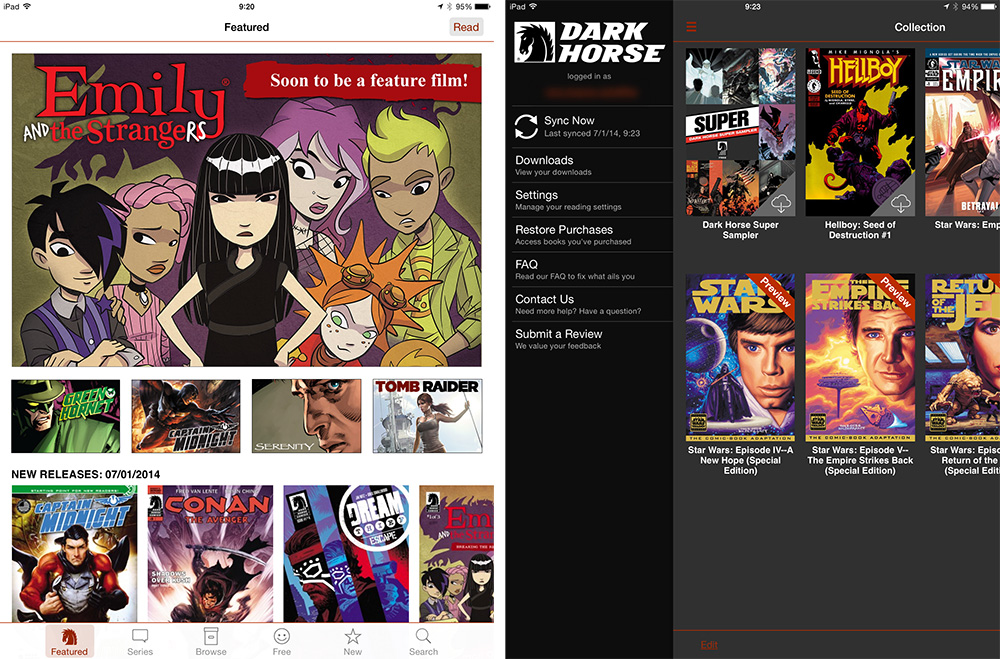 The Dark Horse comic app