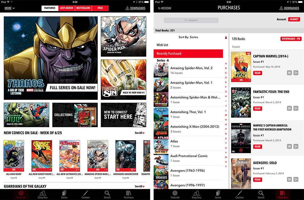 Marvel's iPad comic app
