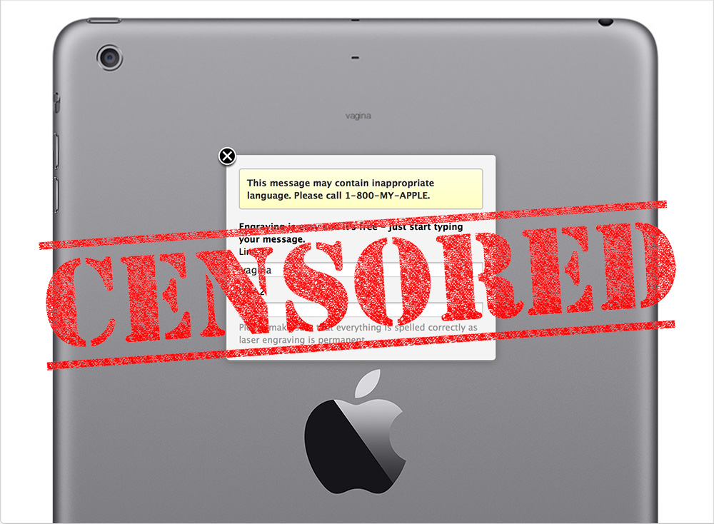 Apple blocked sexual female terms from iPad engraving, while allowing male terms