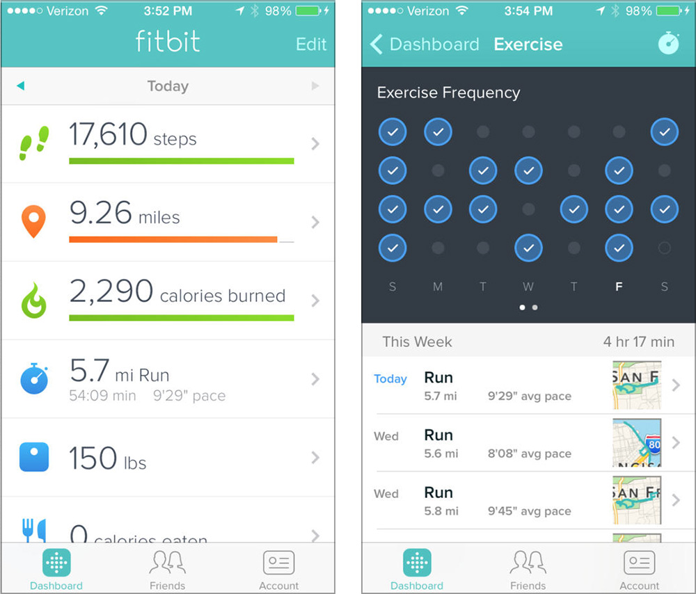 The Fitbit app is great for compiling fitness data from multiple sources