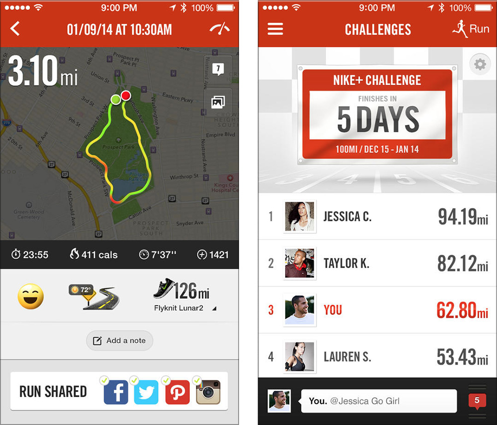 Nike+ Running is great for logging runs and hikes