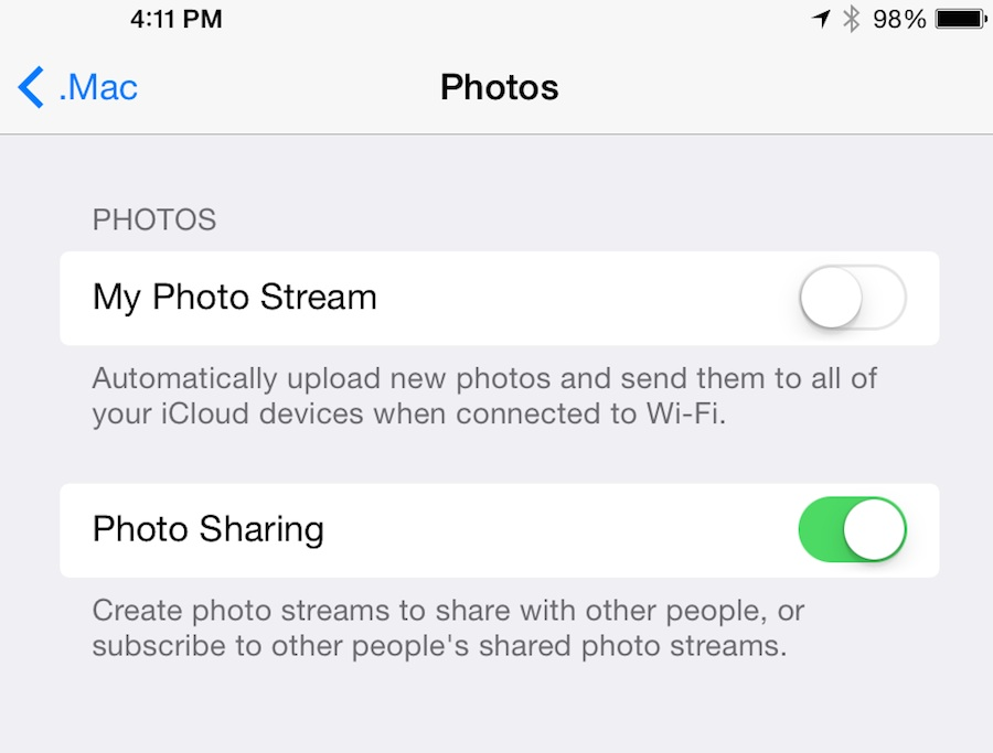 Preference Pane for Photo Stream configuration