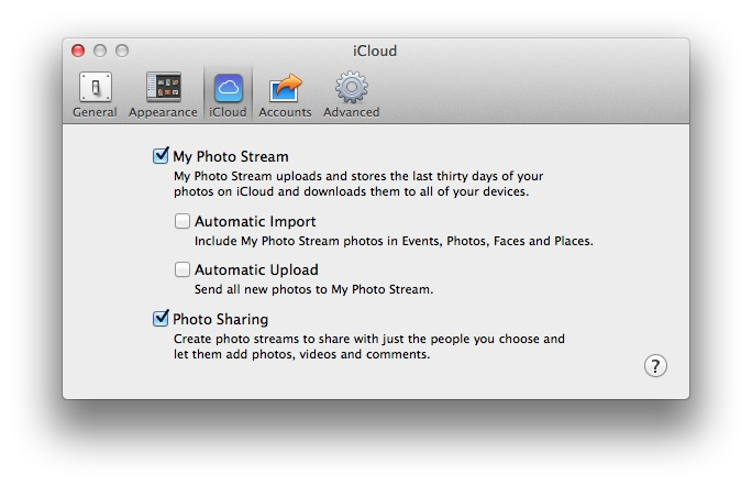 iPhoto options for iCloud Photo Stream settings