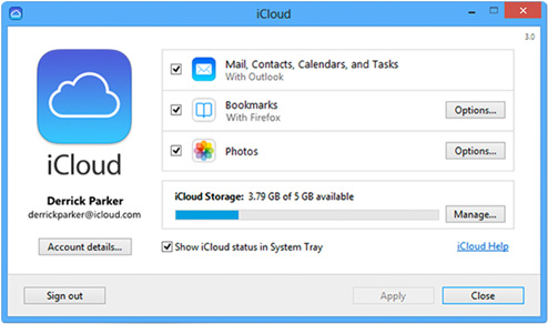 iCloud control panel options on Windows.
