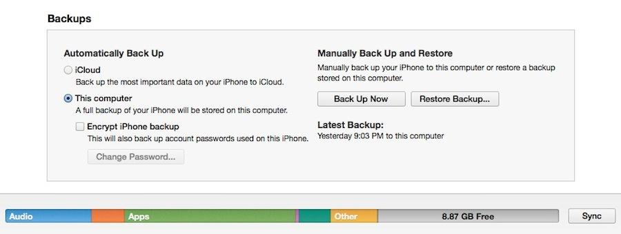Where to switch iOS backups in iTunes