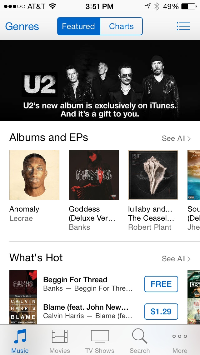 iTunes Banner for U2�s Songs of Innocence
