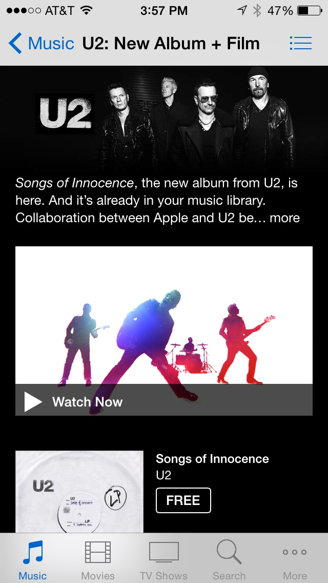 Album information page from iTunes for Songs of Innocence.