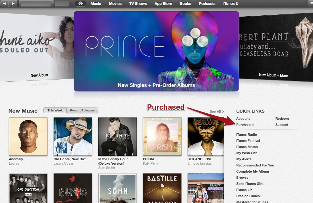 Purchased option under Quick Links in iTunes.