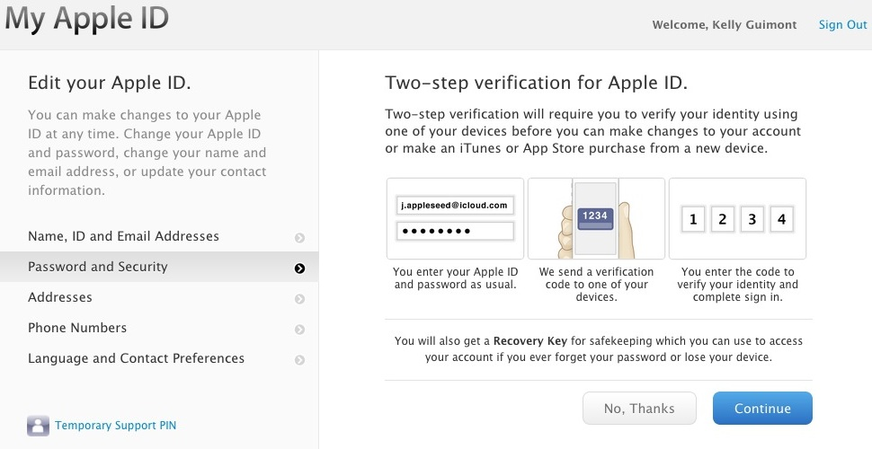 Apple's two-step verification screen for Apple IDs.