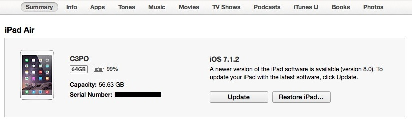 Upgrade button in iTunes for iOS 8