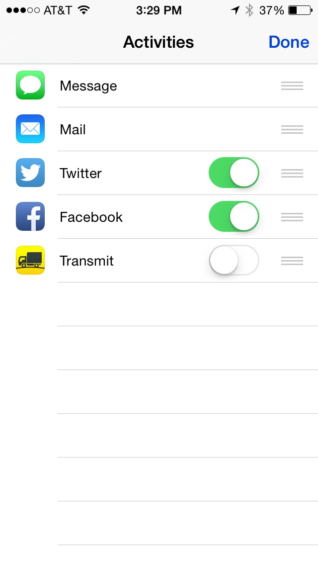 Use the list handles to rearrange app order in the Sharing activate view