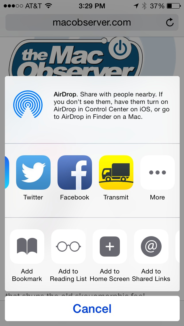 Share sheet in Safari on iOS 8 now showing Transmit