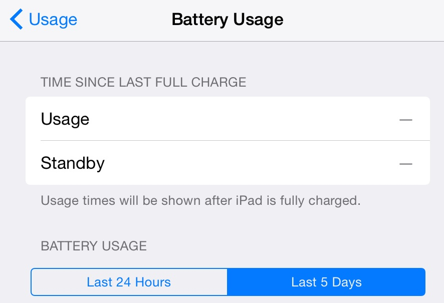 View of battery usage preferences in iOS 8.