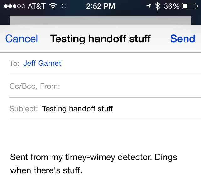 Composing an email on an iPhone.