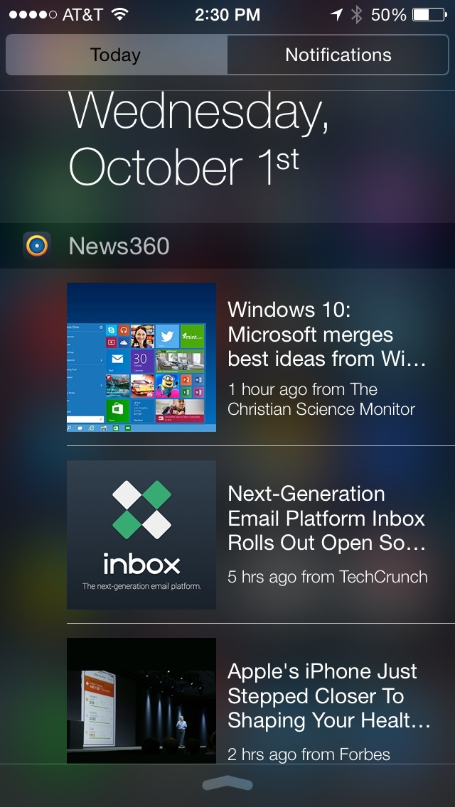 News 360 showing headlines in Notification Center