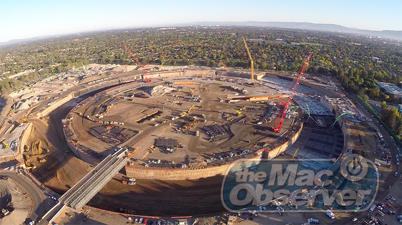 New aerial drone shot of Apple's campus construction