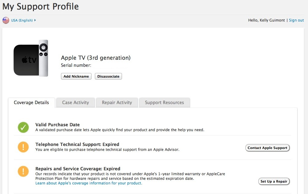 Support Profile details for Apple TV