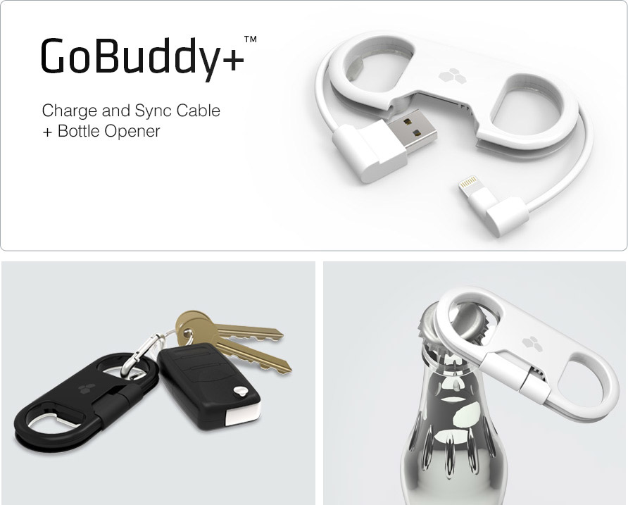 GoBuddy+ a iOS Charging Cable, Bottle Opener, Keyfob in One