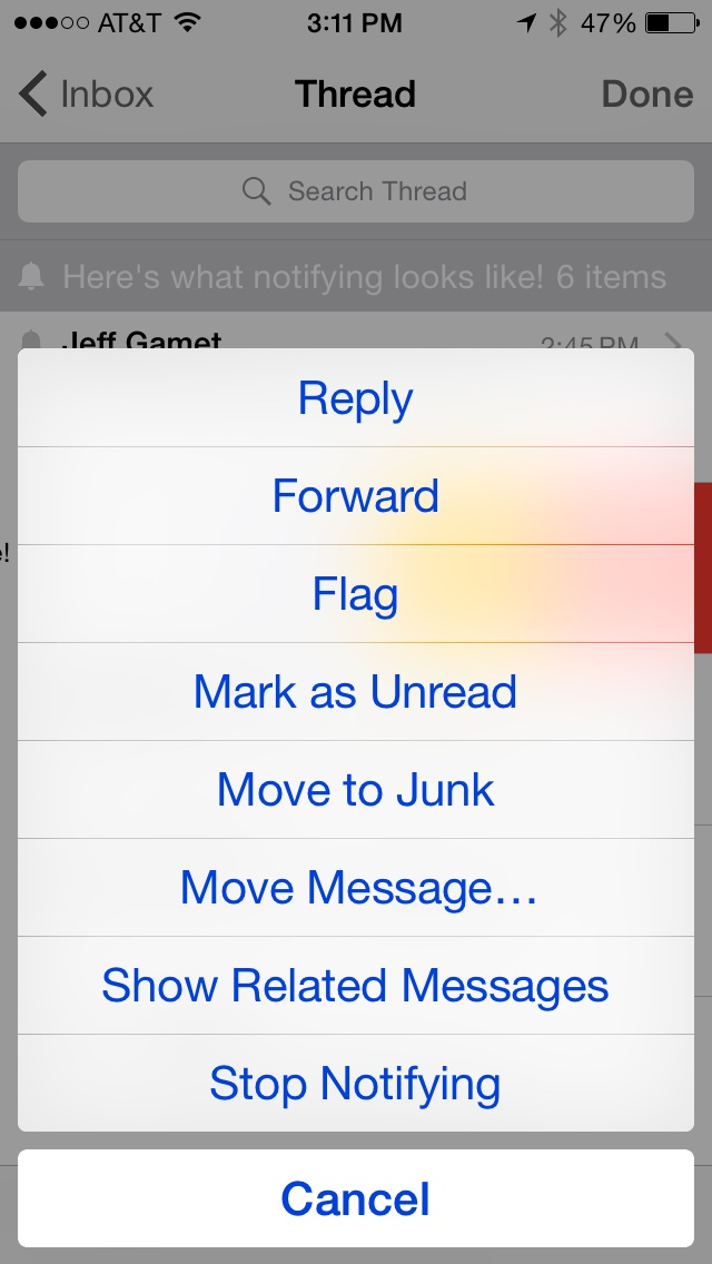 Options under �More� on an email in iOS 8