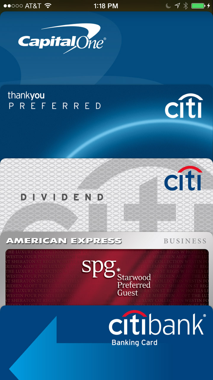 A Passbook full of Apple Pay cards.