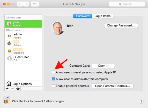System Preferences Users Groups