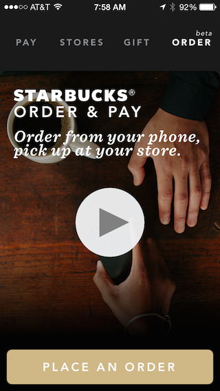 Starbucks mobile ordering screen