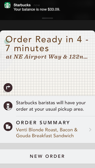 Starbucks order confirmation screen.