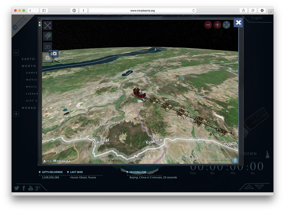 Find Santa and check out videos at NORAD's website