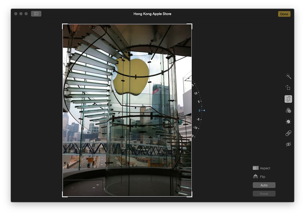 Edit screen in the new Photos app